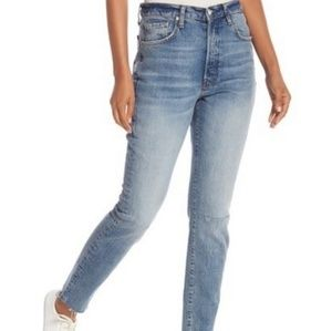 Free People High Waist Stella Raw Hem Jeans NWT